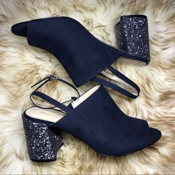 e4b29de5ef1 Nine West Navy Blue Glitter Block Heel Mules Party
